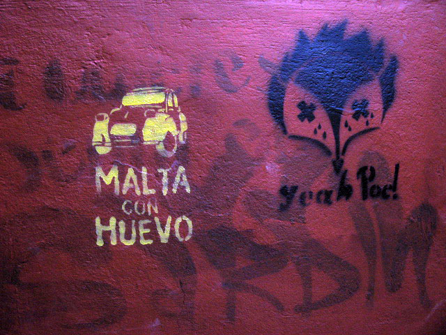 this is an image of a stencil that says: Malta con Huevo (Malt with egg or scrambled beer (Chilean popular drink/Movie))