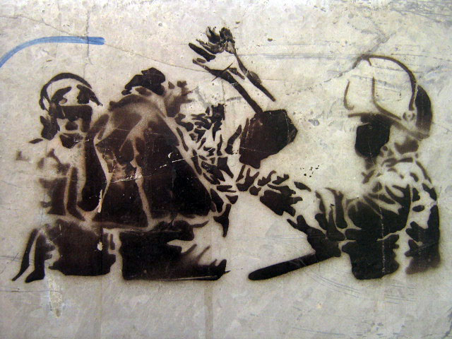 this is an image of a stencil that says: Protesta (Protest)