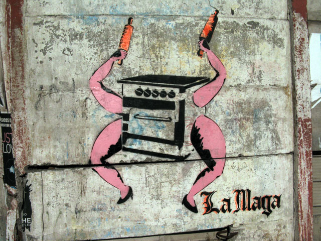 this is an image of a stencil that says: La Maga (Female magician)