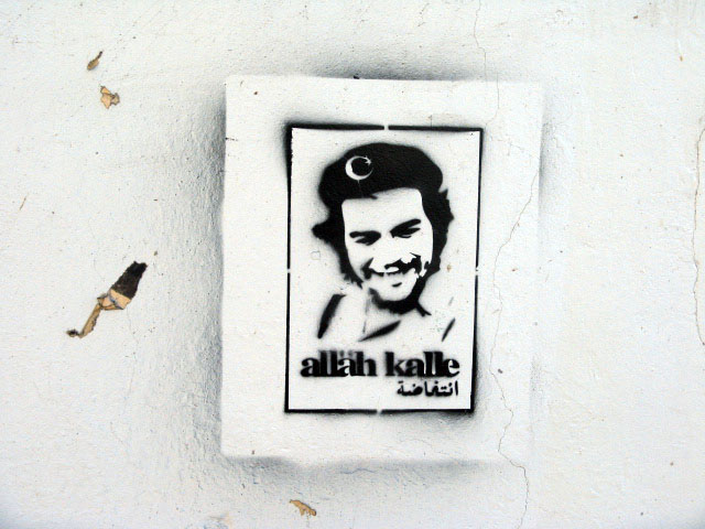 this is an image of a stencil that says: Alläh kalle (A la calle! (To the streets!))
