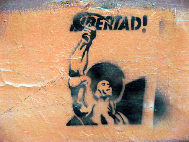 this is an image of a stencil that expresses: Libertad! (Liberty!)