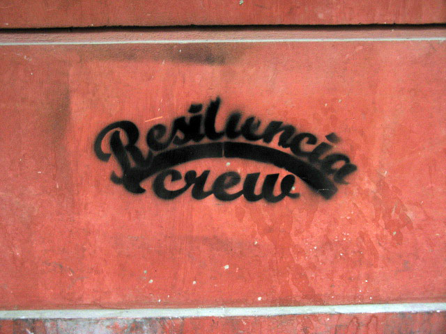 this is an image of a stencil that expresses: Resistencia Crew