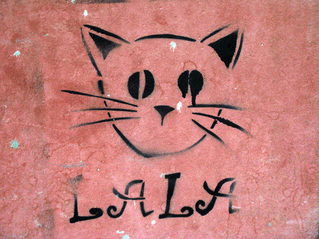 this is an image of a stencil that expresses: A cat named Lala