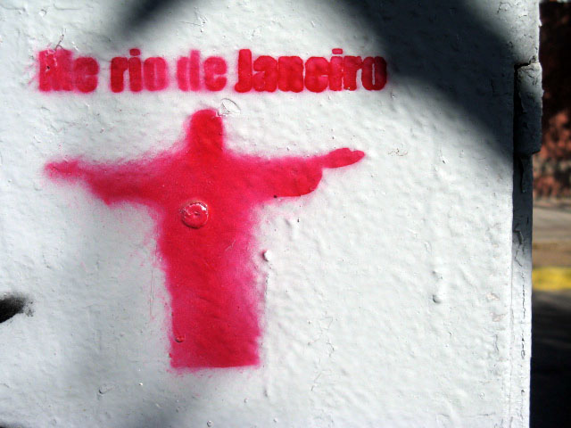 this is an image of a stencil that expresses: Me rio de Janeiro
