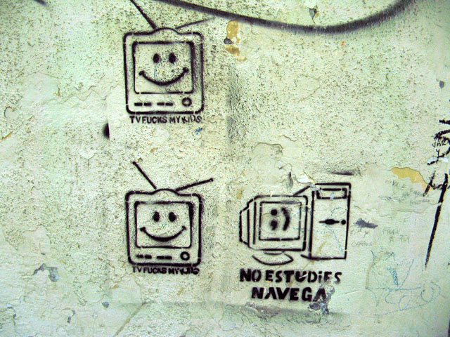 this is an image of a stencil expressing: Television fucks my kids